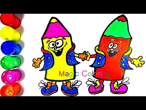 How to Draw and Color a Cartoon Joyful Pencils for Kids