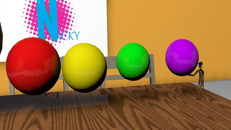 Очень много цветных разноцветных шариков и робот.Короткометражный мультик про цвета для детей