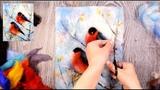 Мастер-класс по живописи шерстью Снегири
