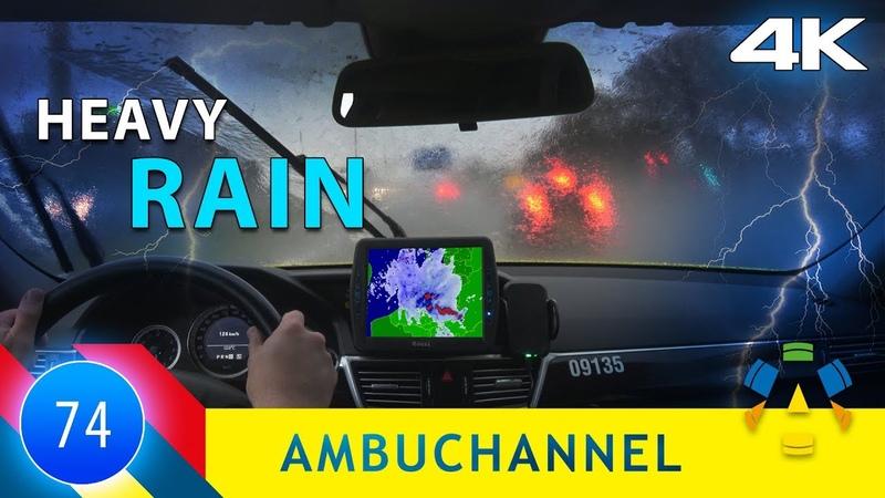 [4K] Ambulance emergency in heavy rain