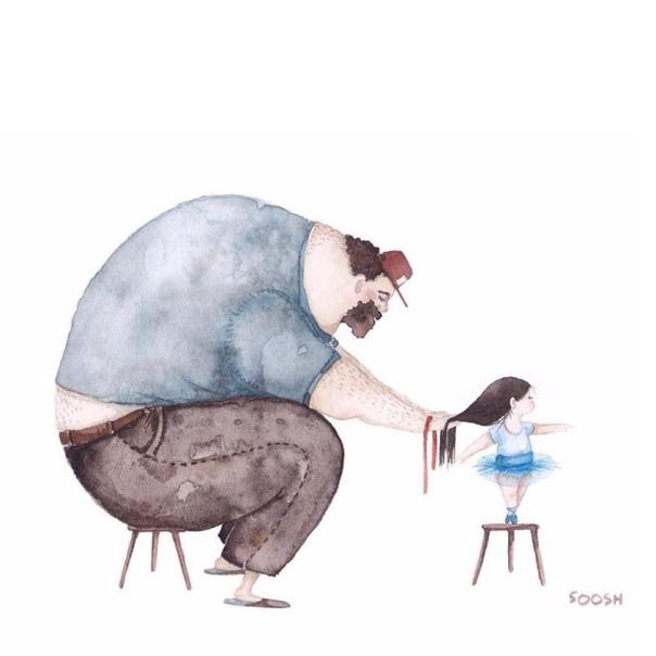 Немножко милоты. Акварельные рисунки о чуткой папиной любви к маленькой дочке. Между отцами и дочками существует особая связь. Молодая художница Снежана Суш создала серию чудесных акварельных