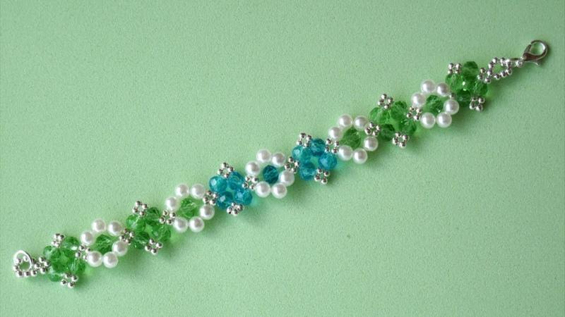 DIY - Pulsera con rondeles azules y verdes DIY - Bracelet with blue and green rondeles