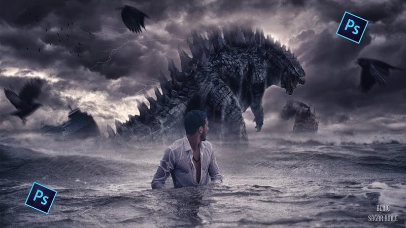 Photoshop CC - Speed Art Tutorial Manipulation - Godzilla's Storm