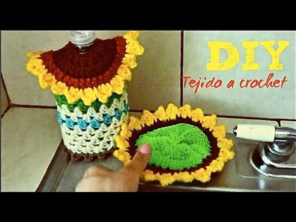 ADORNO PARA COCINA TUTORIAL PASO A PASO A Crochet!! Set Jabon y esponja!! - Para Decorar
