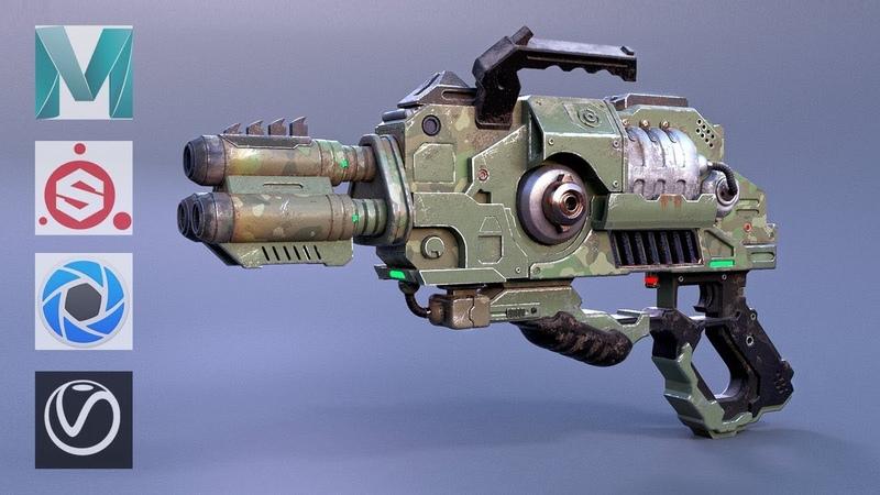 Autodesk Maya , Substance Painter - Sci-Fi Alien Gun Modeling and Texturing