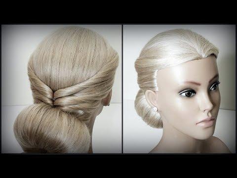 Быстрая прическа.Прическа с помощью валикаБублик.Light, Quick Hairstyles.Beautiful hairstyles.
