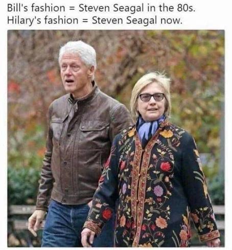 Билл одет как Стивен Сигал в 80-х Хилари одета как Стивен Сигал сейчас