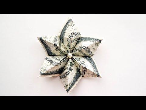 Money DIAMOND FLOWER Origami Dollar Tutorial DIY