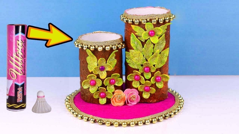 Best Out of Waste Crafts Idea of Badminton Feather Box | DIY OrganizerFlower Vase Make at Home