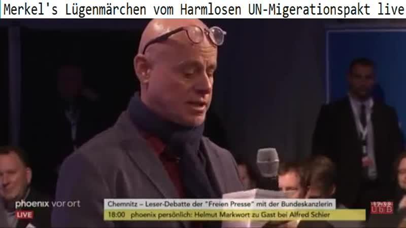 Kritischer Mensch fragt Merkel in Chemnitz Wann treten Sie zurück lädt ein zur Anti-Merkel Demo