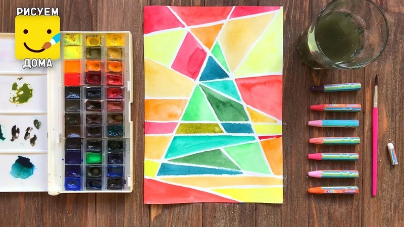 How to draw a Christmas Tree Easy ahd Cute for Kids/ watercolor