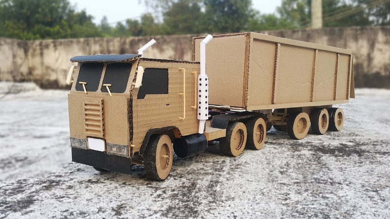 RC ControL 4 FEET LENGTH Big Container Truck (Part 2 ) / D I Y Truck With Cardboard