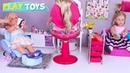 Playing American Girl Dolls Spa Salon and Hair Cut Shop Toys! 🎀
