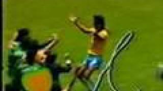 Gol do Brasil contra a França na Copa 1986. Rede Globo