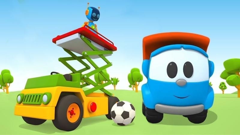 Elevador de tesoura. Léo o caminhão curioso. Animação infantil.