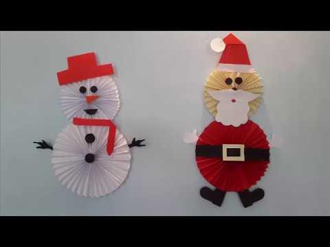 Enfeite de Natal - Papai Noel e Boneco de Neve em Papel!