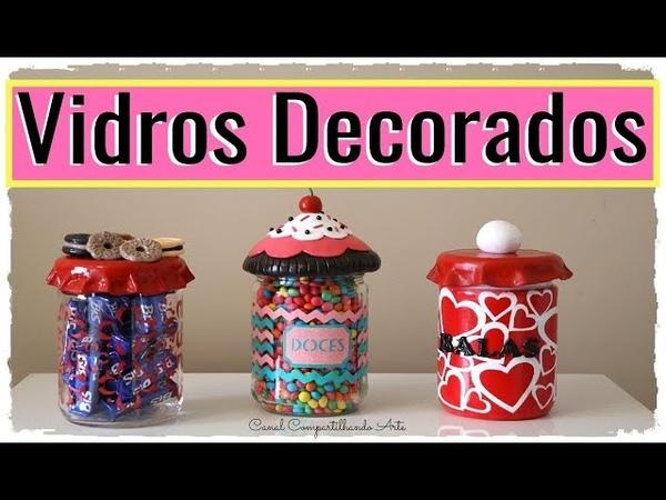 3 DIY POTES DE VIDRO DECORADO COM BISCUIT- Reciclando potes de Vidro | Compartilhando Arte