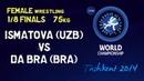 1/8 finals - Female Wrestling 75 kg - G ISMATOVA UZB vs A DA BRA - Tashkent 2014