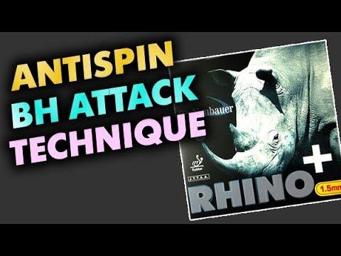 техника атаки антиспином DR NEUBAUER Rhino 1.5 mm (на основании RED BLACK Kazak D) Slowmotion