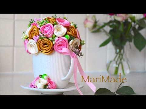 Декоративная Кружка МК Крученые Розы Канзаши Roses Kanzashi Decor