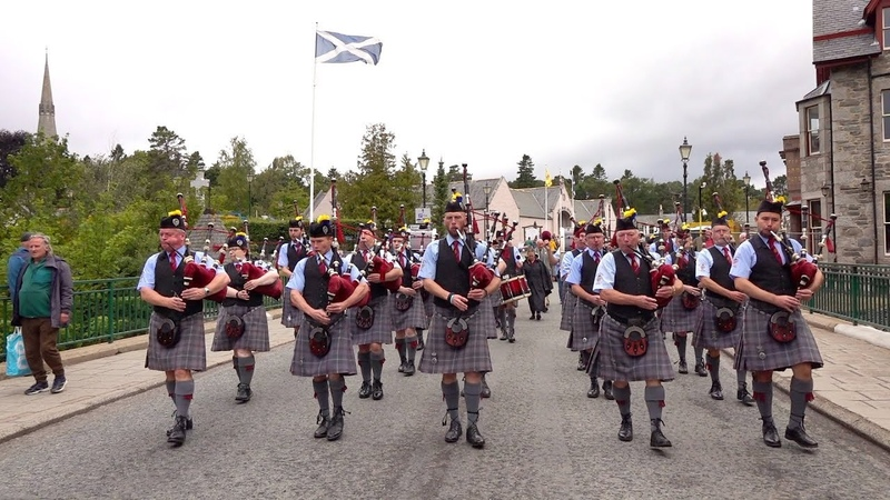 Scotland the Brave by the Isle of Cumbrae Pipe Band as they march out of Braemar, Scotland
