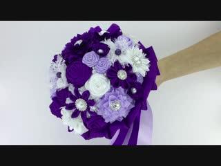 Фиолетовый брошь-букет серии