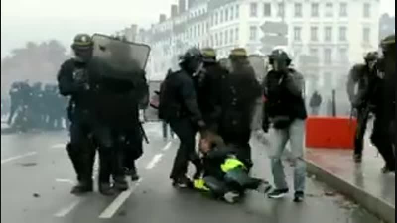 Макроновские жандармы во время протестов в Лионе яростно тащат женщину по асфальту! Демократия и глобализация в лучшем виде
