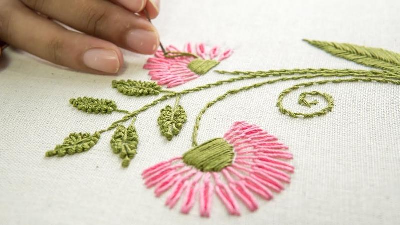 Embroidery Flower Designs Hand Stitching Ideas by HandiWorks