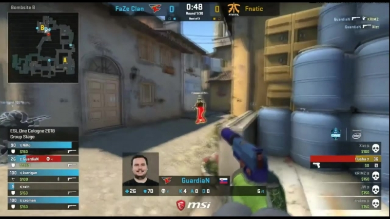 [ESL ONE COLOGNE 2018] FaZe Clan VS Fnatic — «GuardiaN» ACE USP [INFERNO]