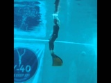 Stefano jumps with monofin out of water during Finswimming show in y-40 pool