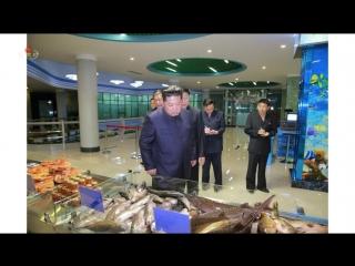 경애하는 최고령도자 김정은동지께서 새로 건설된 평양대동강수산물식당을 돌아보시였다