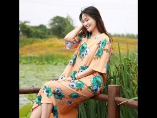 Women Summer Orange Casual Dresses O Neck Pockets Print Pullover  Plus Three Quarter Loose Vestidos G182Y109
