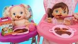 Куклы Пупсики Беби Элав кушают кашу, открываем сюрприз Свит Бокс Маша и Медведь. Зырики ТВ