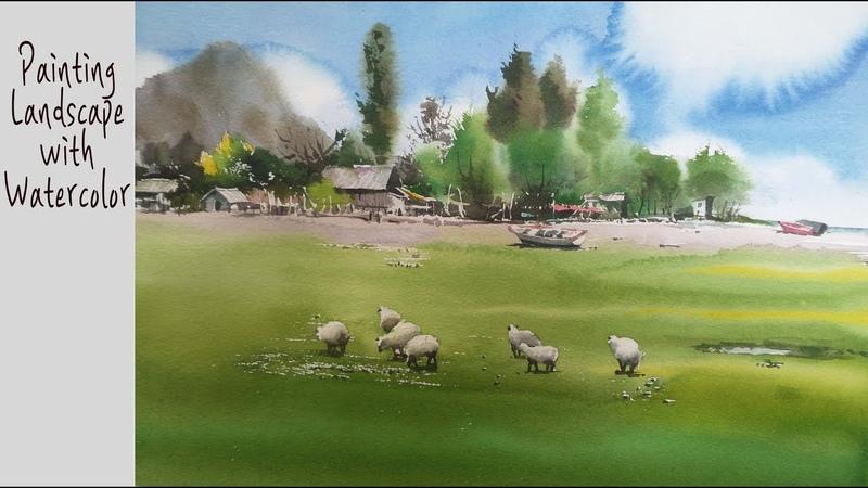 ChoeSSi art studio/수채화, 水彩画watercolor tutorial/ beach scenery해변/최병화수채화 양이있는해변
