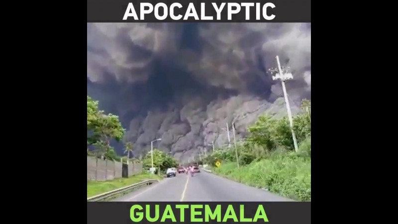People try to flee MASSIVE cloud of black ash from the erupting Fuego volcano in Guatemala!