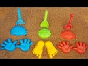 ABC song for kids Toy shovels and sand molds Colored Hand Play on outdoor playground pool with sand