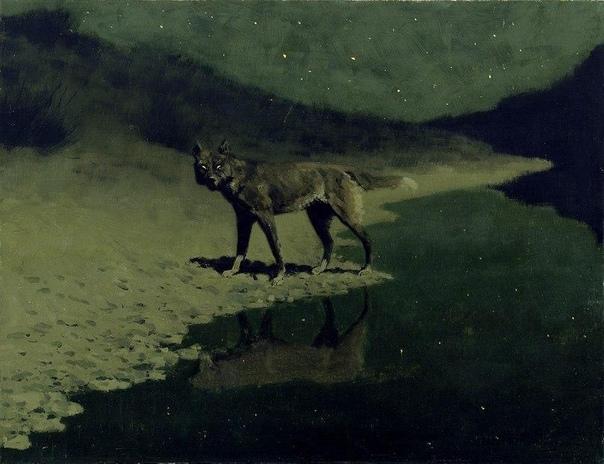 Фредерик Ремингтон. Волк в лунном свете. Около 1909. Addison Gallery of America Art.