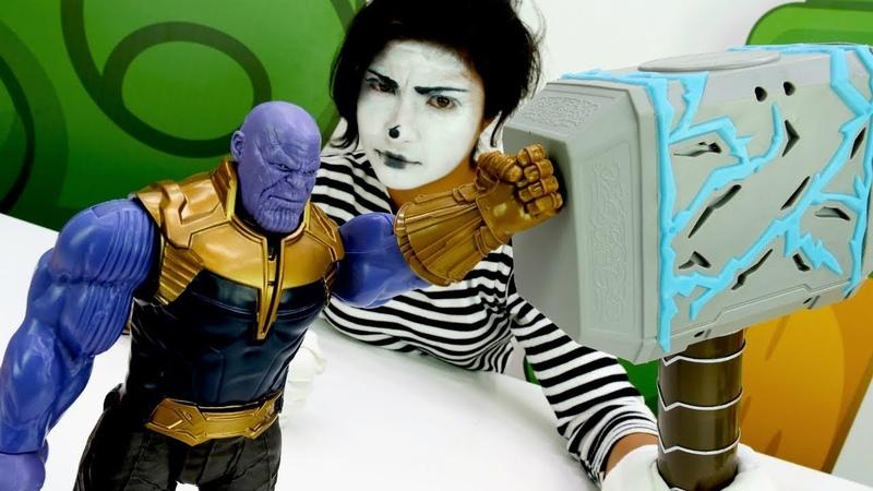 Супергерои Марвел. Капитан Америка, Танос и Тор.