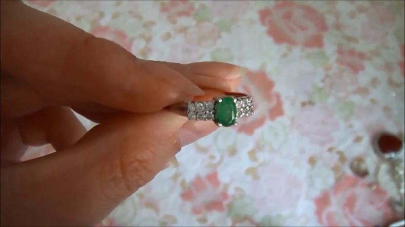Серебренное кольцо с Изумрудом (берилл)
