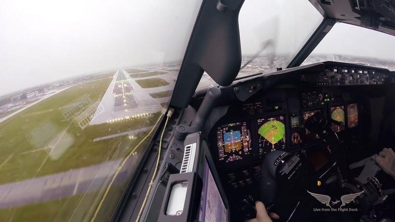 Stormy crosswind landing in LGW Boeing 737 Captain's view