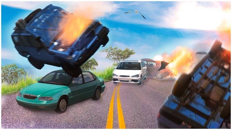ЗАМЕС НА ТРАССЕ ПО ОБОЧИНЕ ОБОГНАЛ ПРОБКУ НА ОГРОМНОЙ СКОРОСТИ BEAM NG DRIVE