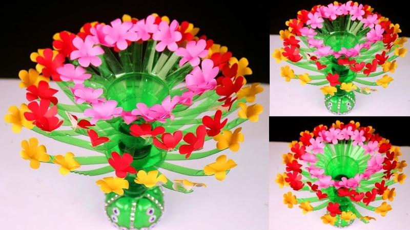 Plastic Bottle and Paper Flower Showpiece || Easy DIY Home Decor Crafts