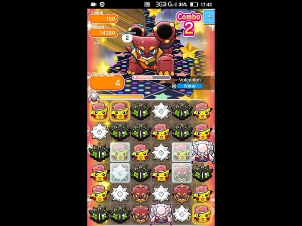 Pokemon Shuffle - Volcanion Escalation Battle 150 lvl