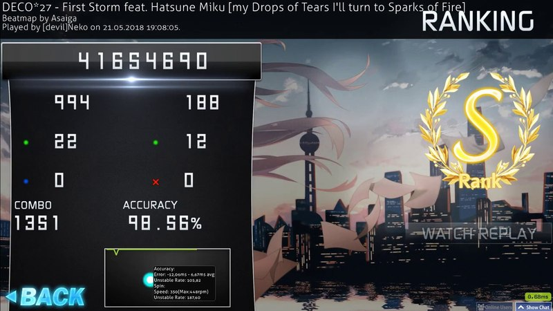 DECO*27 - First Storm feat. Hatsune Miku [my Drops of Tears I'll turn to Sparks of Fire] (98.56%)