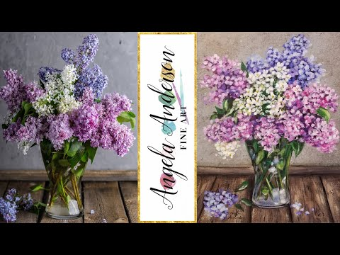 Easy Lilacs Impressionist Beginner Floral Acrylic Painting Tutorial LIVE