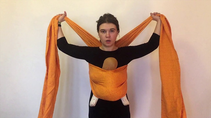 Тканый слинг-шарф. Намотка Крест над карманом