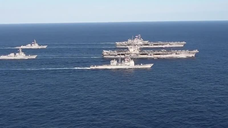 USS John C. Stennis and USS Ronald Reagan dual carrier strike force exercise. PHILIPPINE SEA 16.11.2018