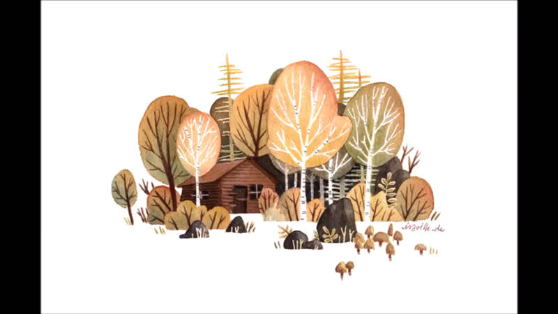 Iraville. Watercolor Illustration birchtree forest - lineless style (with masking fluid)