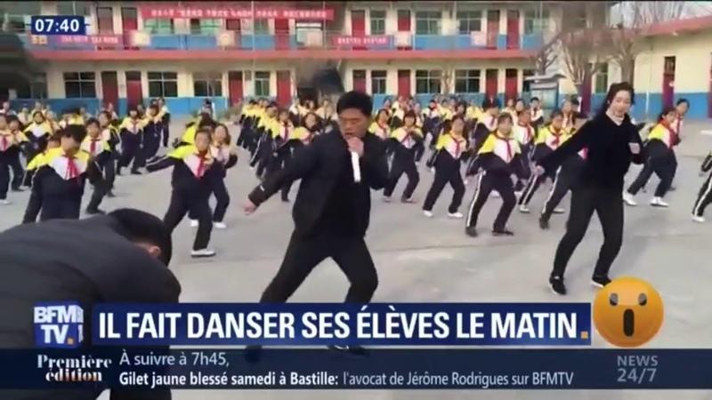 Pour réveiller ses 700 élèves, ce directeur dune école chinoise les fait danser chaque matin