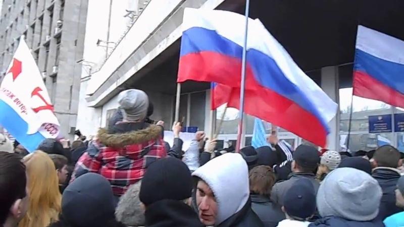2014- 03 -01_ 16 07 46 Донецк, Начало захвата Обл-Администрации.